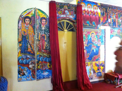 Elaborate religiously themed art work inside the Entos Eyesu Monastery