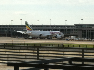 Ethiopian Air plane at the airport
