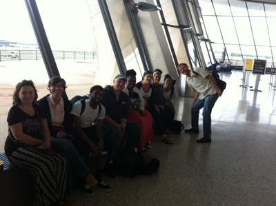 Students inside the airport terminal