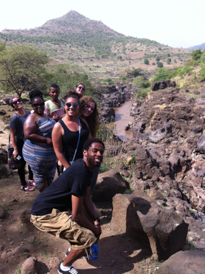 Students cliffside of the Blue Nile River