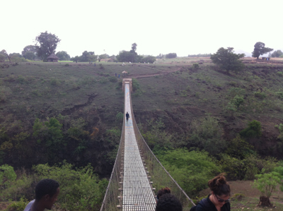 long rope bridge on the hike